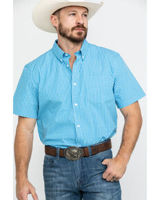 Cody James Core Men's Fiddler Small Plaid Short Sleeve Western Shirt , Royal Blue, hi-res
