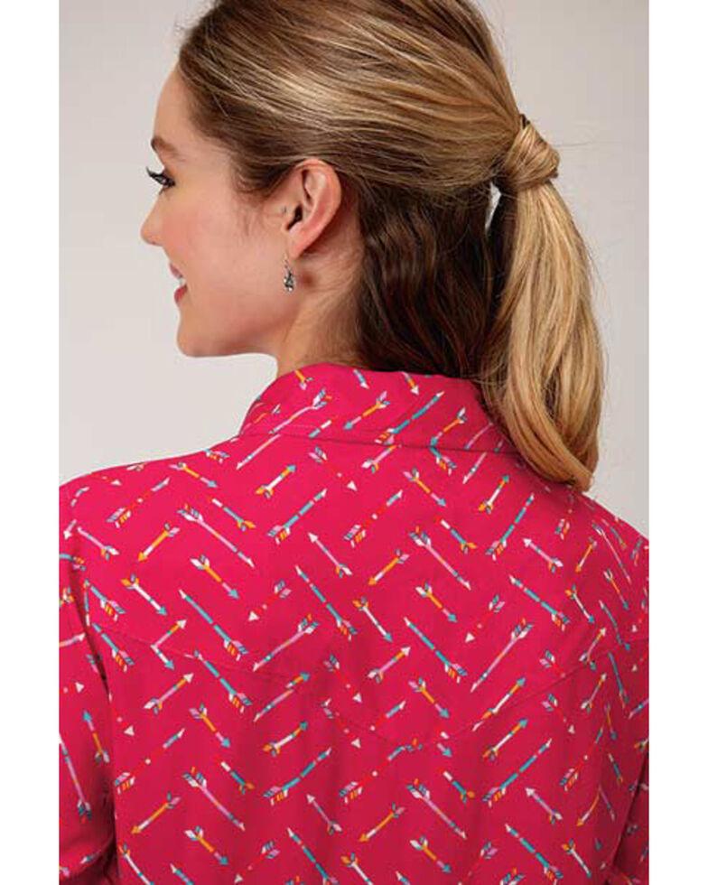 Roper Women's Pink Arrow Print Long Sleeve Snap Western Core Shirt, Dark Pink, hi-res