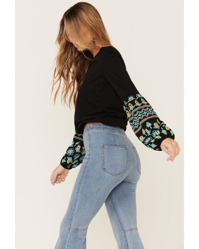 Rock & Roll Denim Women's Black Embroidered Sleeve Top , Black, hi-res