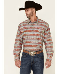 Roper Men's Grey Aztec Blanket Stripe Long Sleeve Snap Western Shirt , Grey, hi-res