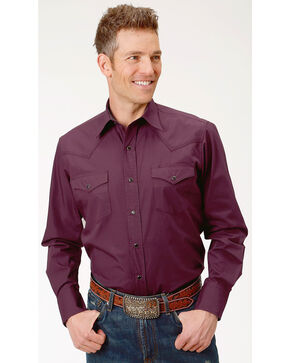 Roper Men's Performance Long Sleeve Solid Snap Shirt - Big & Tall, Burgundy, hi-res