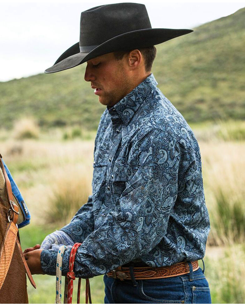 Schaefer Outfitter Men's Blue Frontier Paisley Western Snap Shirt - Big & Tall, Blue, hi-res