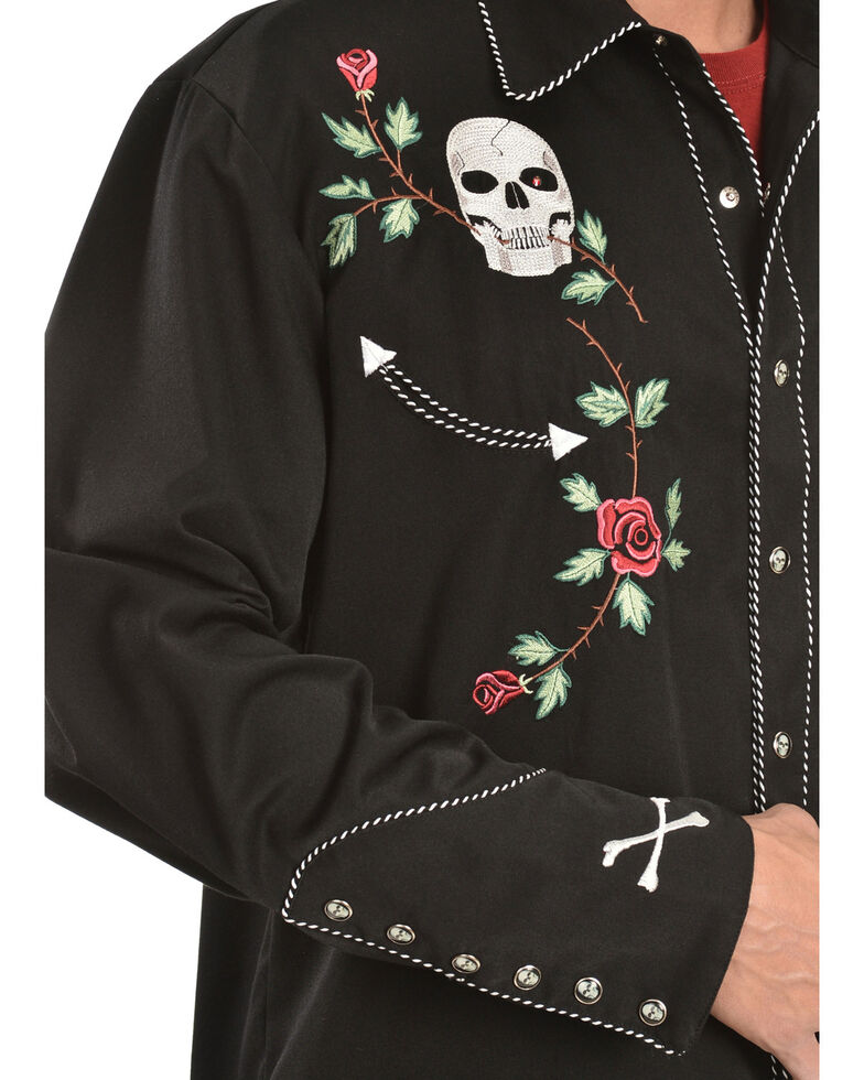 Scully Men's Skull & Roses Embroidered Retro Long Sleeve Western Shirt, Black, hi-res