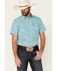Cody James Men's Bronco Paisley Short Sleeve Snap Western Shirt , Light Blue, hi-res