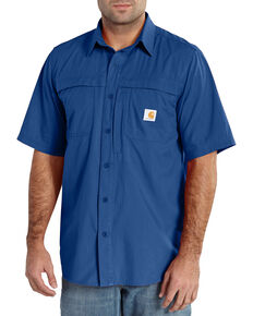 Carhartt Force Mandan Short Sleeve Performance Work Shirt, Blue, hi-res