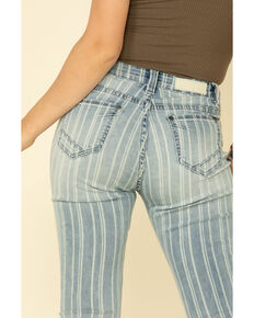 Rock & Roll Cowgirl Women's Light Wash Stripe High Rise Flare Jeans, Blue, hi-res