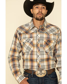 Rock 47 By Wrangler Men's Tan Large Plaid Long Sleeve Western Shirt , Tan, hi-res