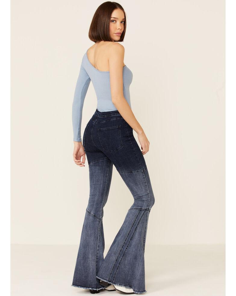 Saints & Hearts Women's Blue Ombre Seamed Flare Jeans, Dark Blue, hi-res