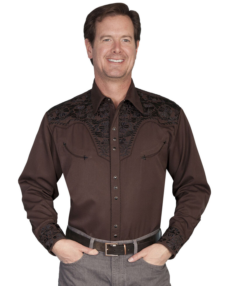 Scully Men's Grey Floral Embroidered Long Sleeve Western Shirt, Chocolate, hi-res