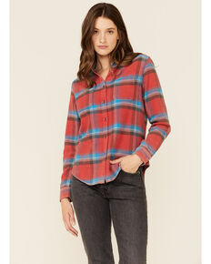 Flag & Anthem Women's Red Plaid Button-Down Long Sleeve Western Flannel Shirt, Red, hi-res