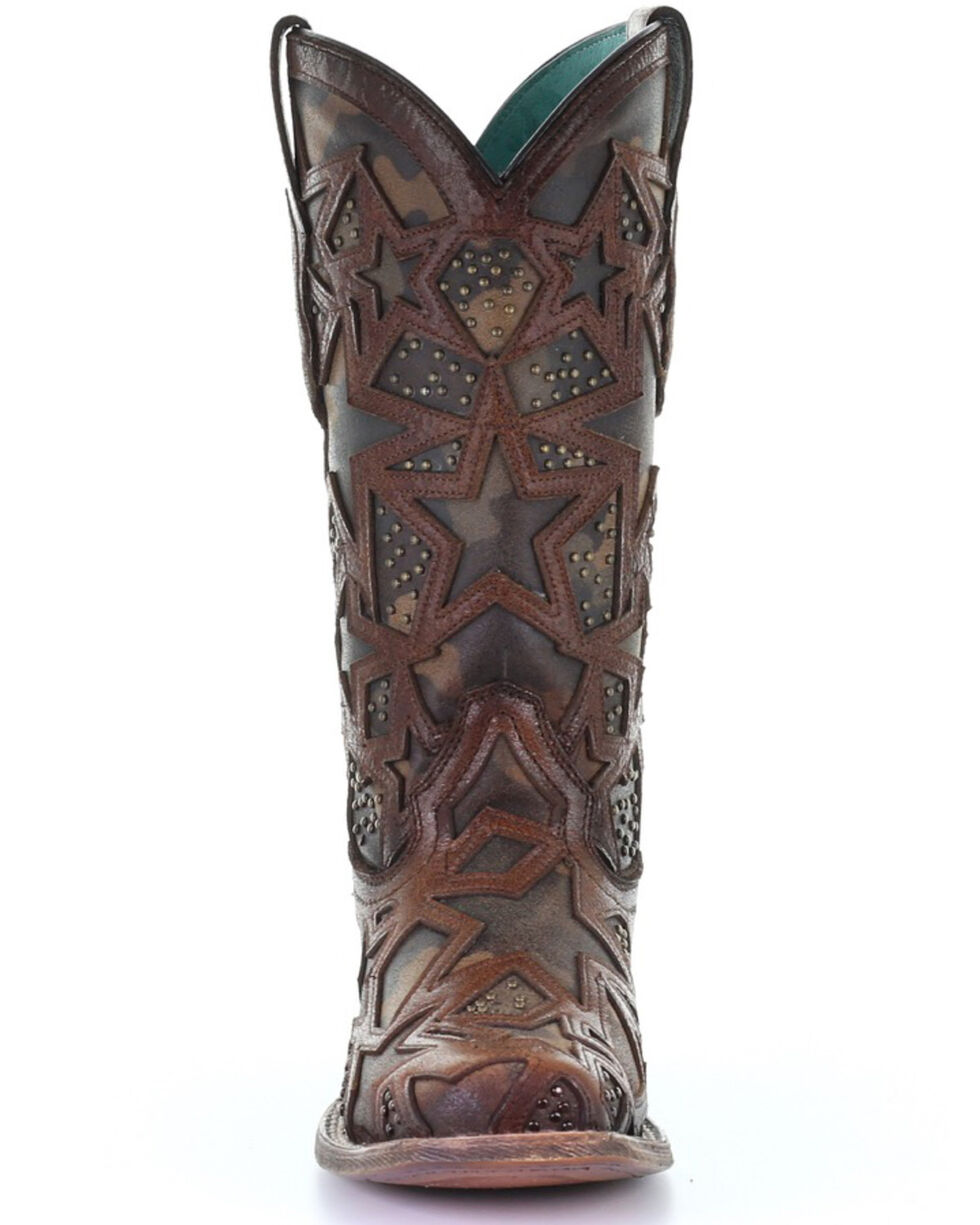 Corral Women's Camo Stars Inlay Western Boots - Square Toe, Brown, hi-res