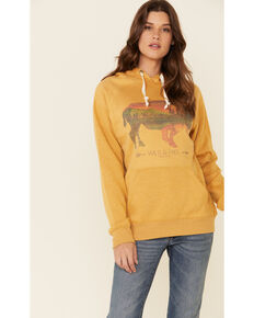 Cowgirl Tuff Women's Mustard Buffalo Graphic Hooded Sweatshirt , Mustard, hi-res