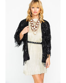 Flying Tomato Women's Sequin Fringe Cardigan, Black, hi-res