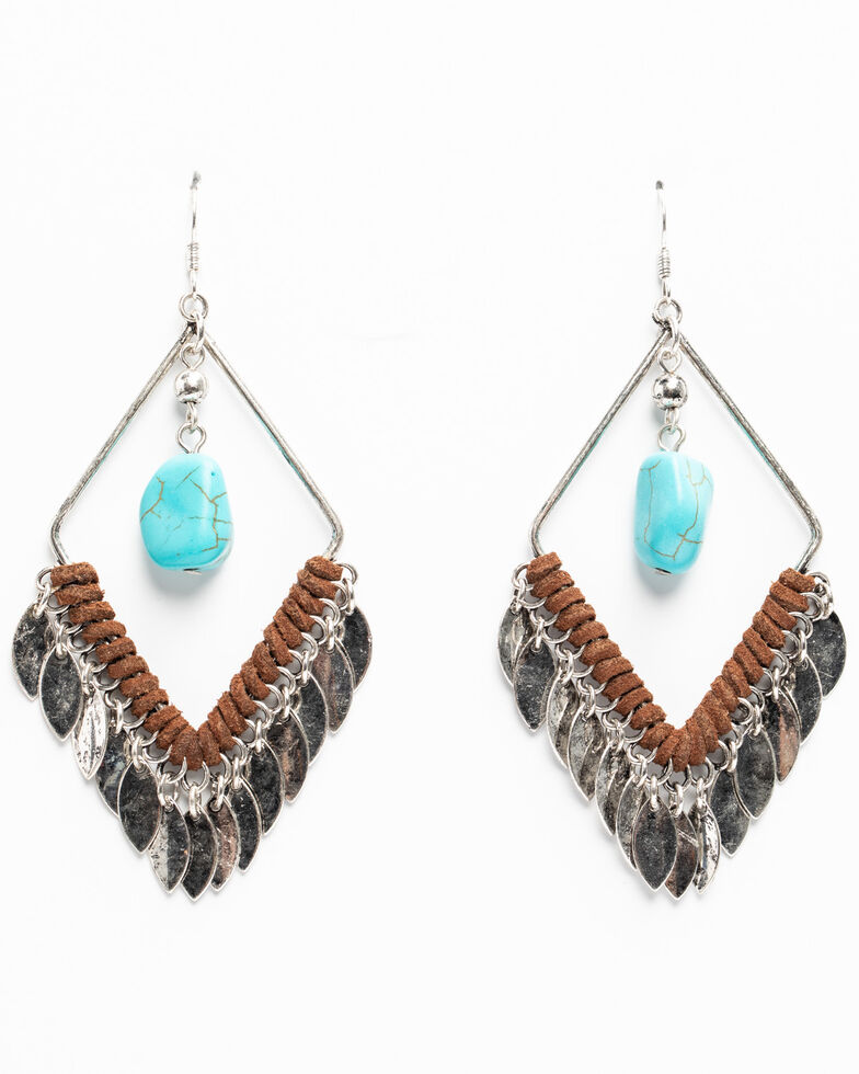 Shyanne Women's Hidden Treasure Diamond Hoop Turquoise Stone Earrings, Silver, hi-res