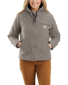 Carhartt Women's Taupe Washed Duck Sherpa-Lined Jacket - Plus, Taupe, hi-res
