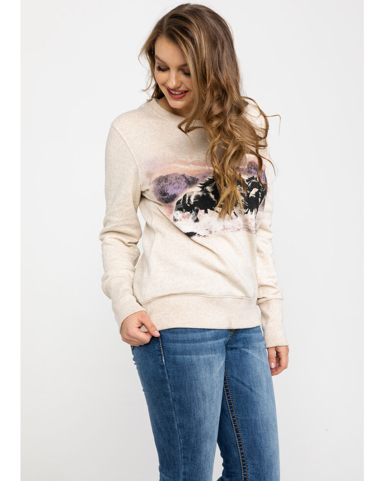 Shyanne Life Women's Running Horses Screen Pullover  , Oatmeal, hi-res