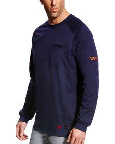 Ariat Men's FR Air Crew Long Sleeve Work Shirt - Tall, Navy, hi-res