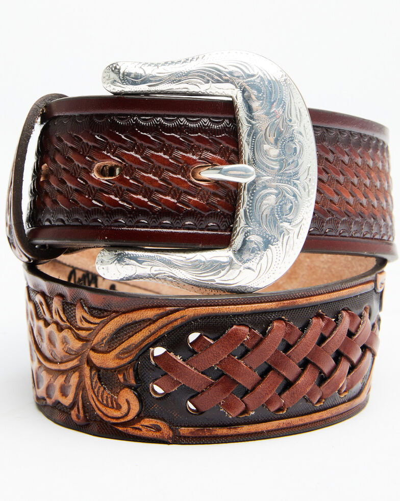 Leegin Men's Don Coronado Western Belt, Brown, hi-res