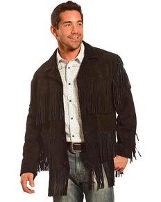 Liberty Wear Men's Fringe Suede Leather Jacket - Big, Black, hi-res
