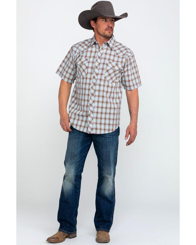 Resistol Men's Big Bend Small Plaid Short Sleeve Western Shirt , Brown, hi-res