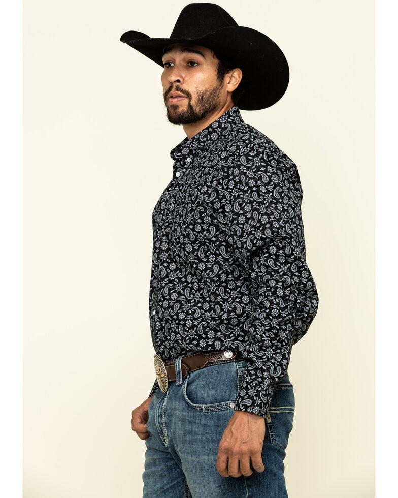 Cody James Core Men's Spurs Small Paisley Print Long Sleeve Western Shirt , Black, hi-res