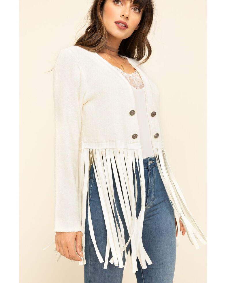 Vocal Women's Faux Suede Fringe Jacket, Off White, hi-res