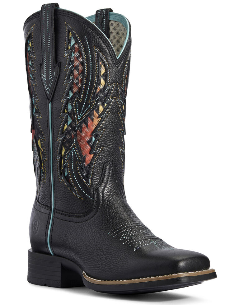 Ariat Women's Blackjack VentTEK Western Boots - Wide Square Toe, Black, hi-res