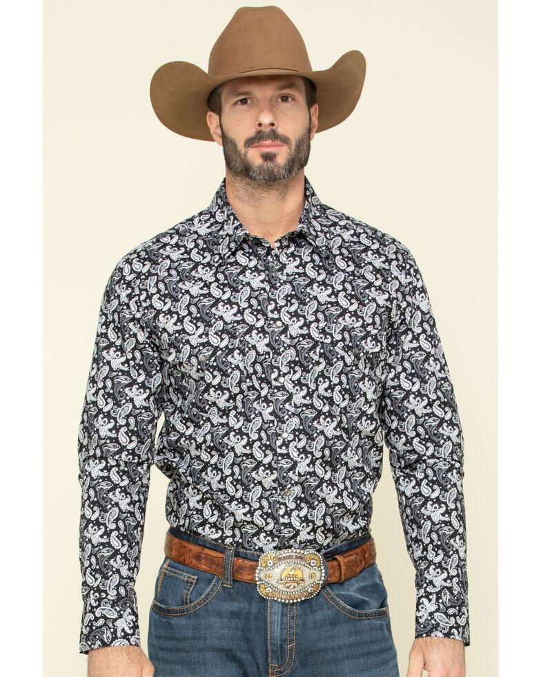Rock & Roll Cowboy Men's Black Paisley Print Long Sleeve Western Shirt , Black, hi-res