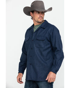 Pendleton Men's Navy Board Solid Long Sleeve Western Shirt , Navy, hi-res