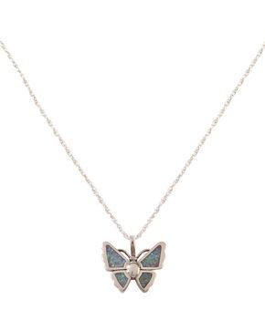 Silver Legends Opal Butterfly Necklace , Lavender, hi-res