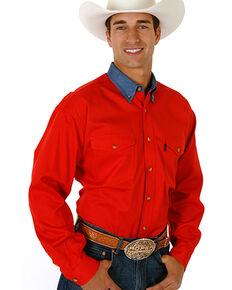 Roper Contrast Collar Twill Shirt, Red, hi-res