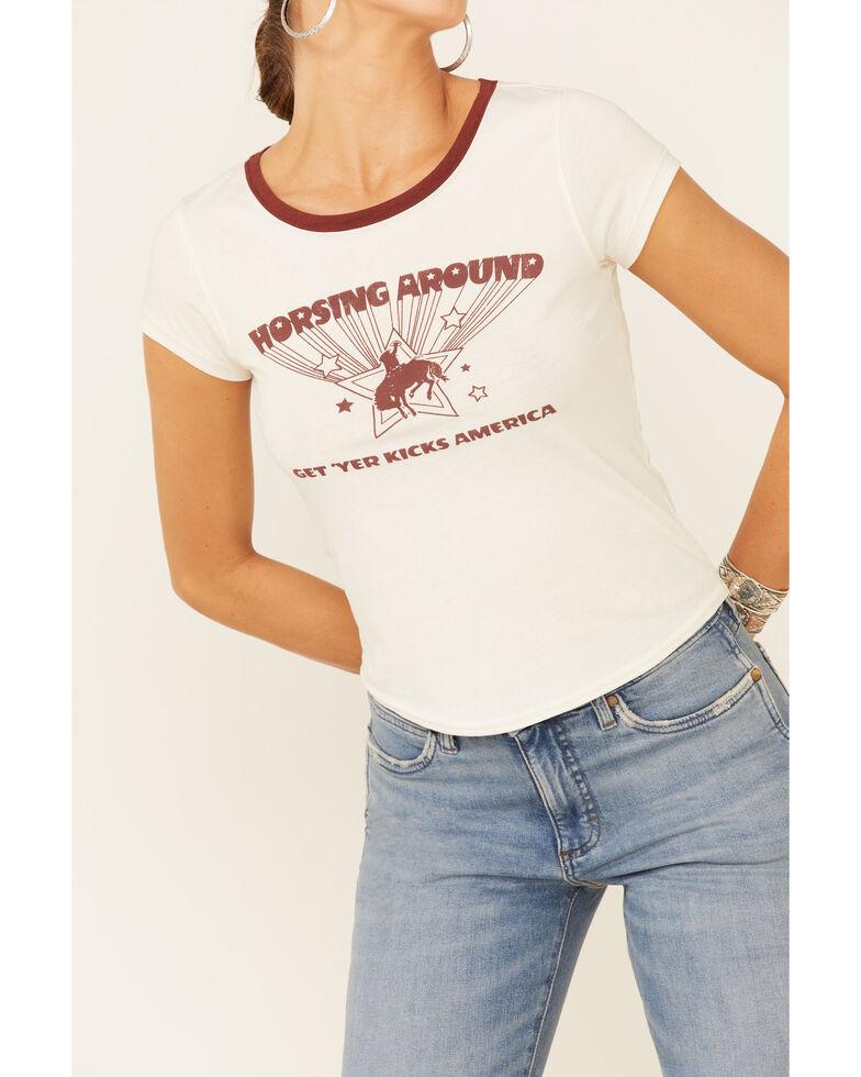 Shyanne Life Women's Off-White Horsing Around Graphic Short Sleeve Ringer Tee , Off White, hi-res