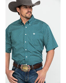 Cinch Men's Teal Tencel Geo Print Short Sleeve Western Shirt , Teal, hi-res