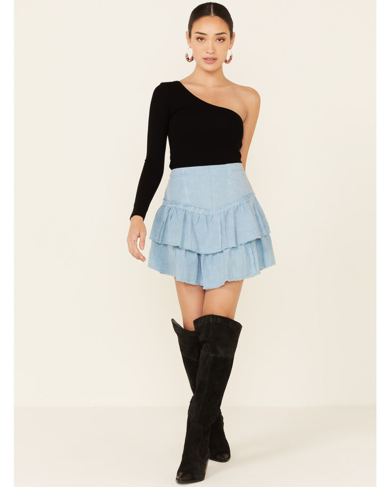 Free People Women's Ruffles In The Sand Skirt, Blue, hi-res