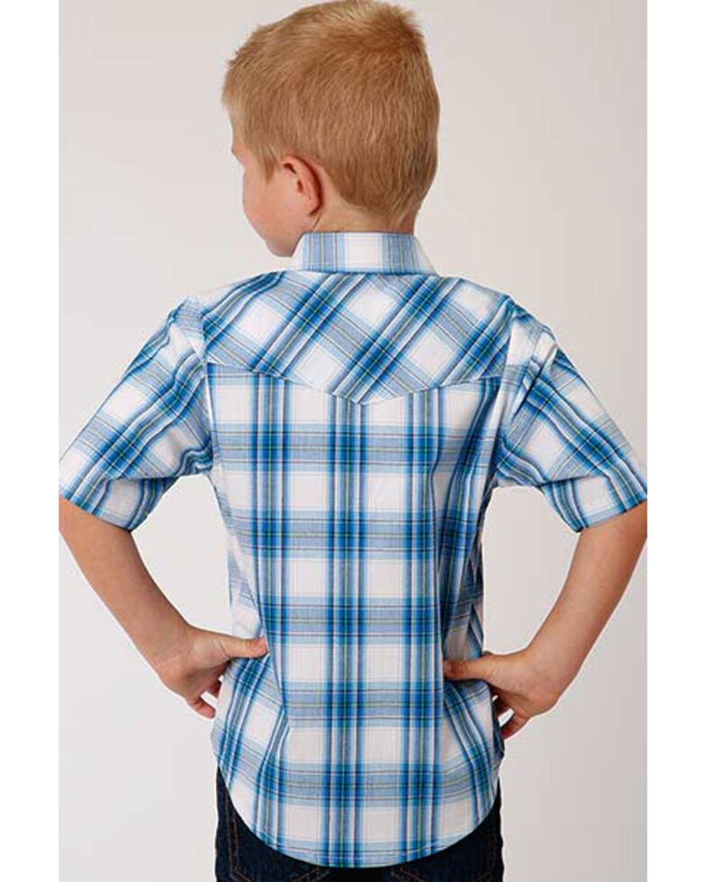 Amarillo Boys' Blue Brook Plaid Short Sleeve Western Shirt , Blue, hi-res