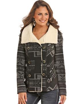 Powder River Outfitters Women's Black Jacquard Wool Coat , Black, hi-res