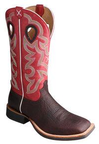 Twisted X Ruff Stock Cowboy Boots - Square Toe, Cognac, hi-res