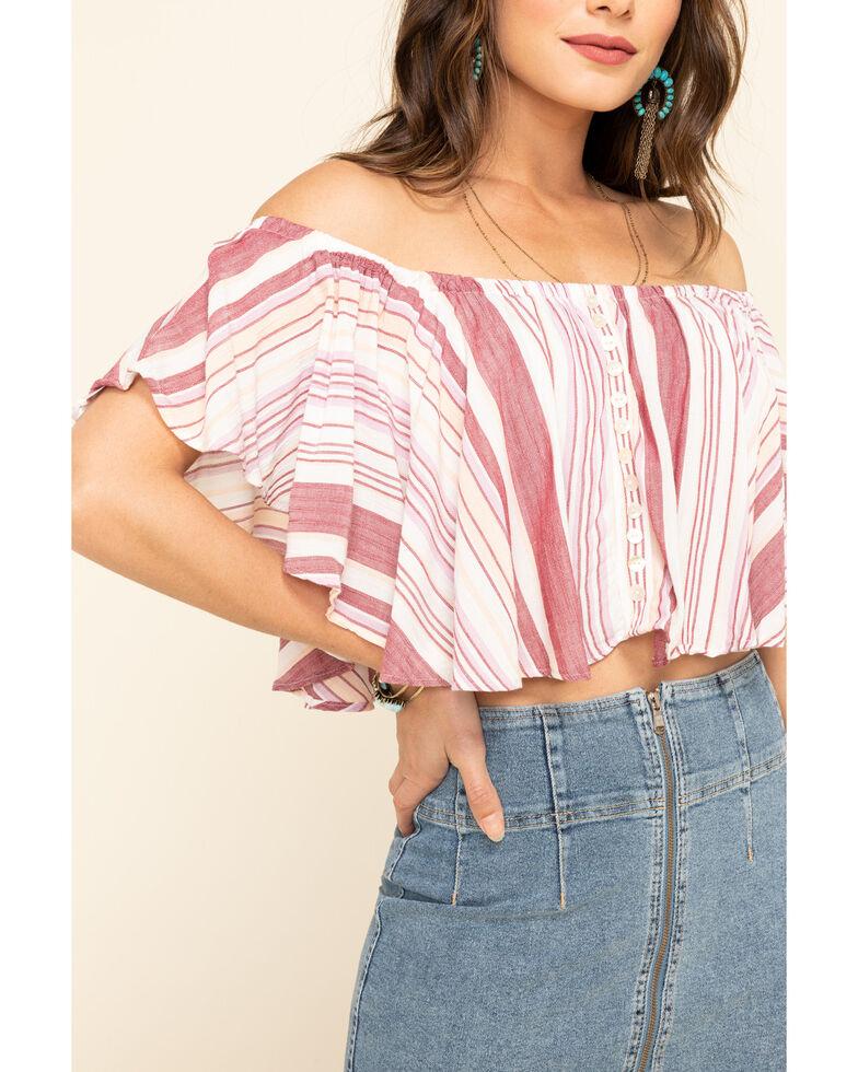 Angie Women's Stripe Button Flutter Crop Top, Rose, hi-res