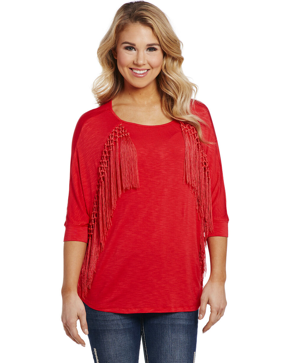 Cowgirl Up Women's Red 3/4 Front Fringe Top , Red, hi-res