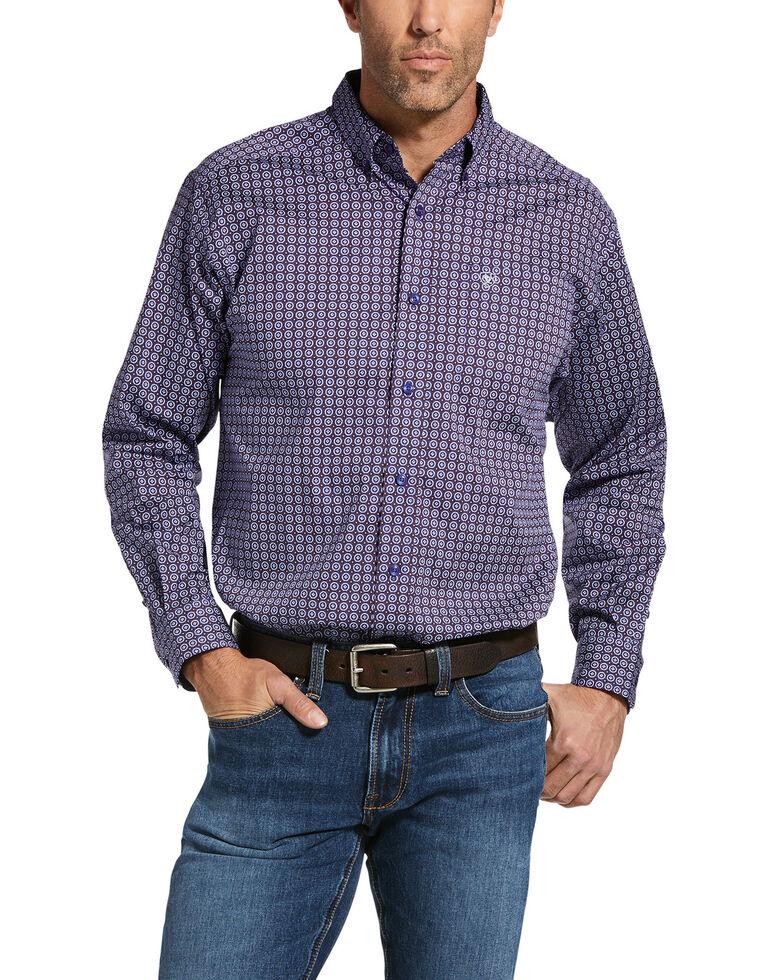 Ariat Men's Jeffron Stretch Geo Print Long Sleeve Western Shirt , Blue, hi-res