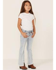 Rock & Roll Denim Girls' Light Wash Frayed Seam Stretch Trouser, Blue, hi-res