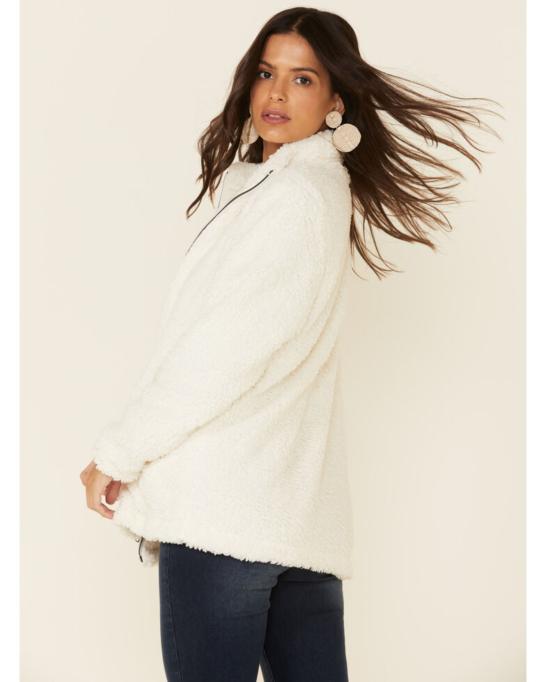Katydid Women's Cream Faux Fur Zip Front Sherpa Jacket, Cream, hi-res