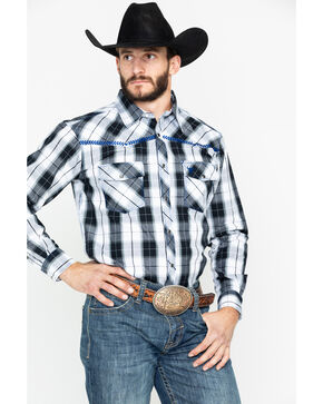 Cowboy Hardware Men's Block Plaid Long Sleeve Western Shirt , Black, hi-res