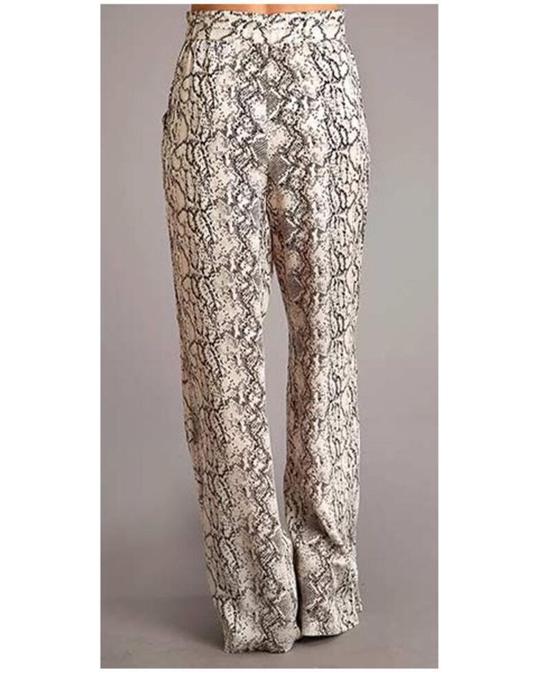 Stetson Women's Ivory Snake Print Wide Leg Pants , Ivory, hi-res