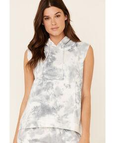 Beyond The Radar Women's Cloud Tie Dye Hooded Vest , Blue, hi-res