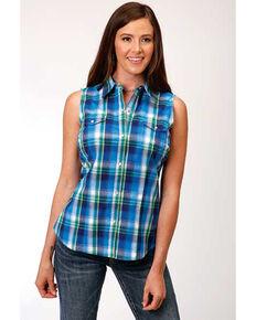 Amarillo Women's Blue Plaid Snap Sleeveless Western Shirt, Blue, hi-res