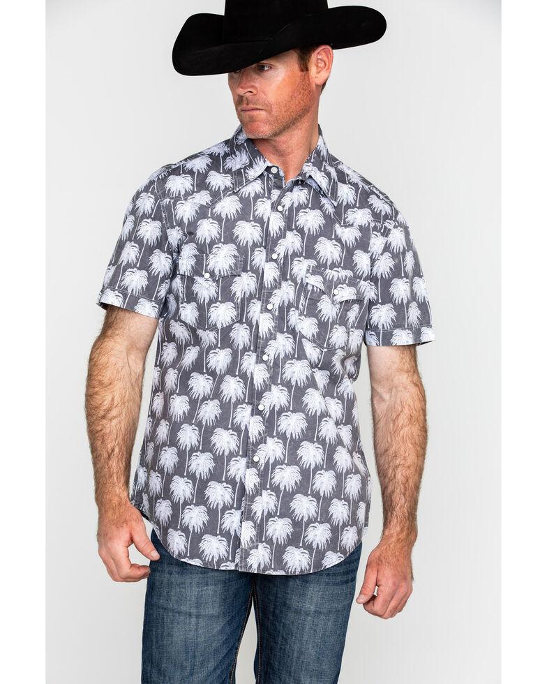 Rock & Roll Denim Men's Crinkle Washed Palm Print Short Sleeve Western Shirt , Grey, hi-res