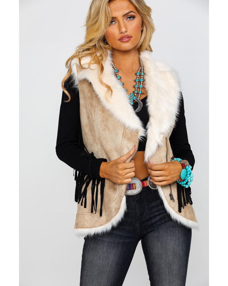 Honey Creek by Scully Women's Beige Faux Fur Vest, Beige/khaki, hi-res