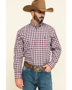 George Strait by Wrangler Men's Burgundy Small Plaid Button Long Sleeve Western Shirt  , Burgundy, hi-res