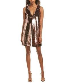 BB Dakota Women's Rose Gold Sparkle Motion Sequin Shift Dress, Rust Copper, hi-res